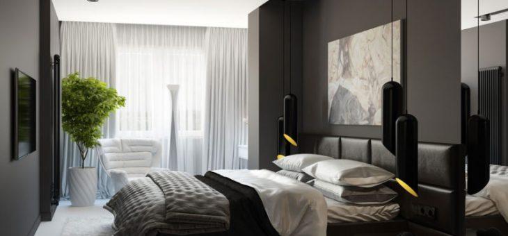 Черно белая комната дизайн