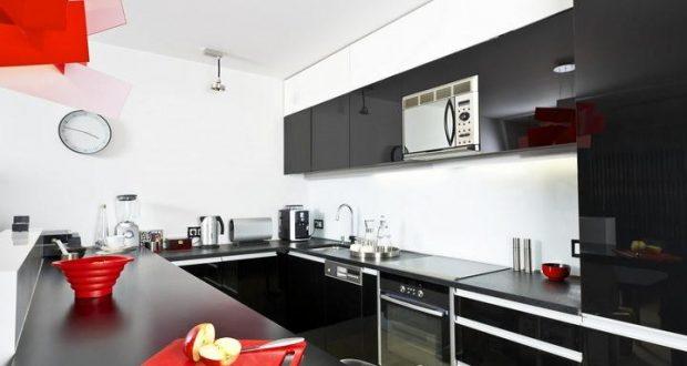 Черно белая кухня дизайн фото с яркими акцентами – фото дизайна с яркими акцентами, цвет столешницы, интерьер с черной техникой, обои в черных тонах для маленькой угловой кухни —