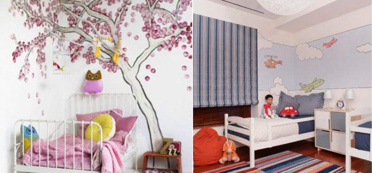 Что можно нарисовать на стене в детской – своими руками рисунки, что нарисовать и как в комнате, картины, оформление в интерьере, идеи и эскизы