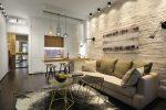 Дизайн 40 м квартиры – современные проекты-(Y) с зонированием для двухуровневого помещения размером 40 квадратных метров