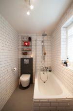 Дизайн фото длинной и узкой ванной комнаты
