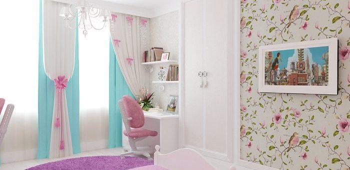 Дизайн проект детской для двух девочек – Дизайн-проект детской комнаты 24 кв. м в классическом стиле, для двух девочек разного возраста