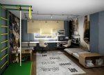 Дизайн проект детской комнаты для двух мальчиков – дизайн комнаты, для подростков разного возраста, мебель в интерьере, проект кровати, оформление маленькой планировки