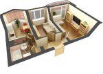 Дизайн проект квартиры двушки распашонки схема 60 кв м – распашонка и друге виды расположения комнат в 2-х комнатной квартире в панельном доме, типы планировки в «новостройках»