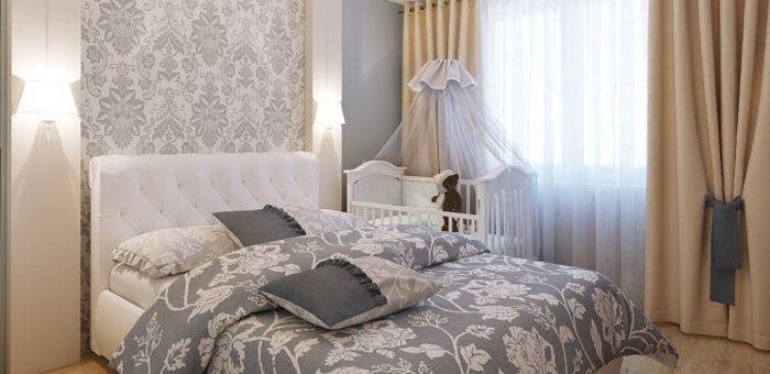 Дизайн спальни в хрущевке с детской кроваткой