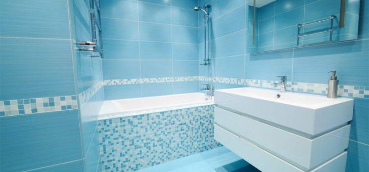 Дизайн в ванной в голубом цвете