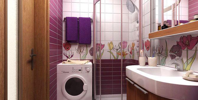 Дизайн ванной комнаты с душевой кабиной и унитазом и стиральной машиной