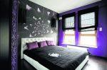 Фиолетовые обои в спальне фото – какого выбрать, сиреневые, фото, серые, голубые, темные, в полоску в интерьере, фиолетовые, какой лучше, видео