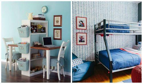 Интерьер детской комнаты для двоих детей – планировка детской комнаты для двоих разнополых детей, двойняшек или близнецов (100 фото) – Кошкин Дом
