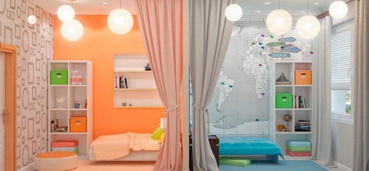 Интерьер для детской комнаты для мальчика и девочки – дизайн фото, вместе, двухъярусная кровать, оформление зонирования, идеи мебели для подростков, интерьер