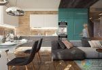 Интерьер второго этажа – Интерьер двухэтажного дома в Подмосковье дизайн-проект и планы этажей, современный минималистический стиль, гранжевый кичевый стиль с деревянными балками на потолке, внутренние стены из красного кирпича, металлические рольворота, студия INT2