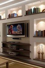 Из гкл полки – модели на стену под телевизор, как сделать своими руками угловые полочки для гостиной, варианты с подсветкой в нишу