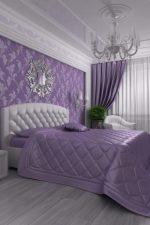 Комбинирование обоев в спальне фото идеи сиреневого цвета