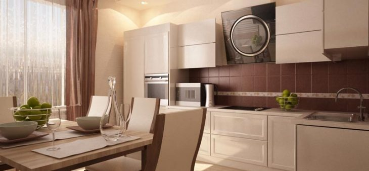 Кухня с бежевыми обоями – фото цвета, дизайн интерьера в бежевых тонах, светло бежевая кухня, с чем сочетать