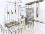 Кухня с рисунком – проект дизайна карандашом, нарисовать интерьер угловых кухонь, фото и видео-инструкция