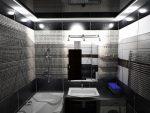 Натяжной потолок в ванной черный