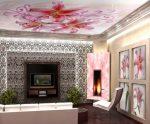 Натяжные потолки с рисунком для зала фото