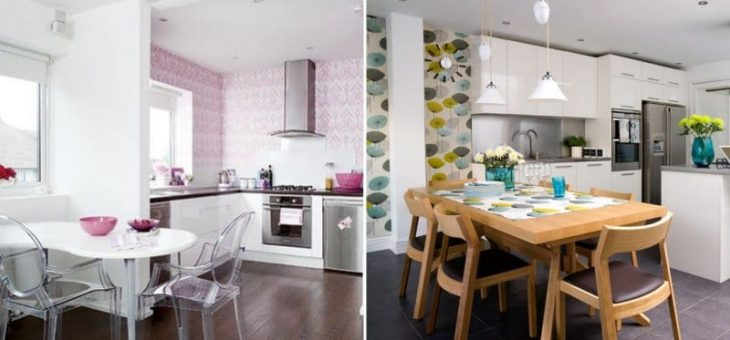 Оформление кухни обоями фото