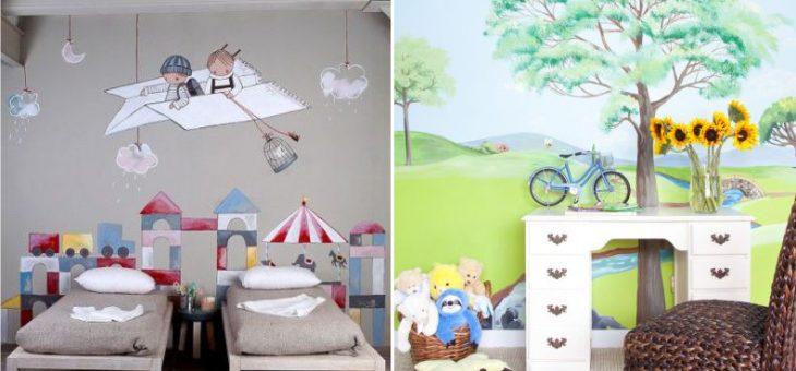 Оформление стен в детской – своими руками рисунки, что нарисовать и как в комнате, картины, оформление в интерьере, идеи и эскизы