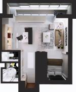 Планировка дизайн однокомнатная квартира