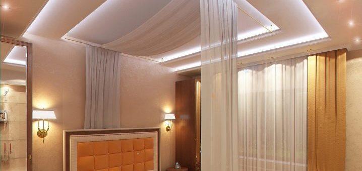Потолки в спальню дизайн – какой лучше сделать, красивые варианты-2018 дизайна потолка в интерьере маленькой комнаты