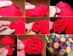 Пушистые цветы из гофрированной бумаги своими руками