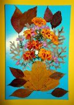 Работа из листьев – Урок «Работа с природным материалом. Аппликация из сухих листьев цветов «Подарок маме»»
