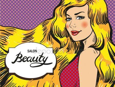 Салон красоты в стиле поп арт – омоложение. Векторная иллюстрация женщины в салоне красоты, поп-арт стиль — Векторное изображение © skypistudio #144271419