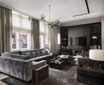 Серые стены интерьер – фото в интерьере, какого цвета подойдут для стен с цветами, светлый ламинат, фон белый, голубая мебель, сочетаются, диван, видео