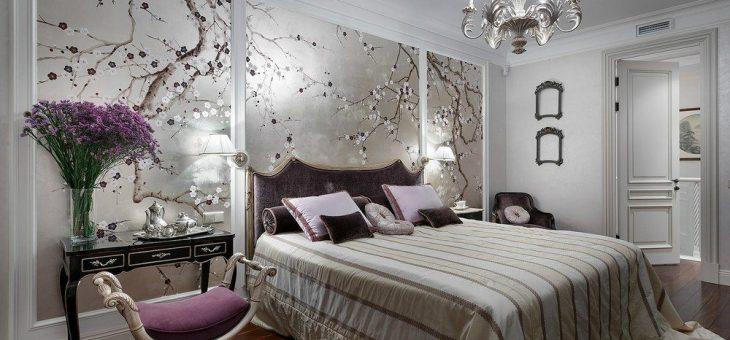 Спальня в серебристых тонах фото