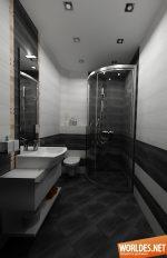 Ванная бело черная