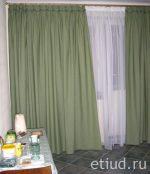 Занавески на кухню зеленые